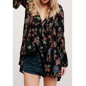 Free People Just the Two of Us Floral Tunic Top S